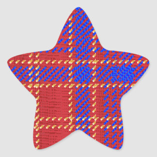 Blue Kilt Tartan Star Sticker