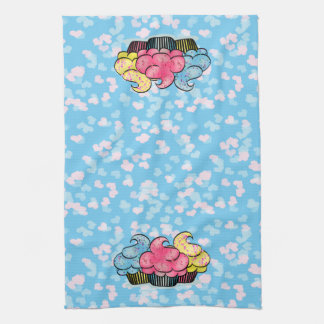 Blue Kitchen Towel with Cupcakes & Hearts