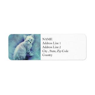 Blue Kitten | Abstract | Watercolor Return Address Label