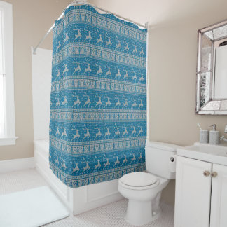 Blue Knitted Background Shower Curtain