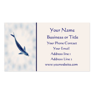 Blue Koi Lotus Mandala Business Card Template
