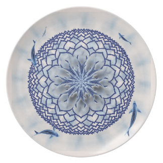 Blue Koi Lotus Mandala Decorative Plate