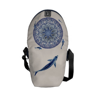 Blue Koi Lotus Mandala Mini Messenger Bag