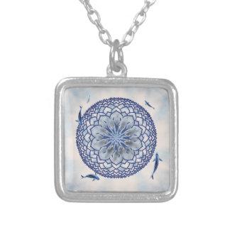 Blue Koi Lotus Mandala Pendant Necklace