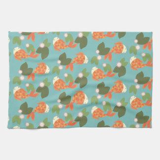 Blue Koi Pond Tea Towel