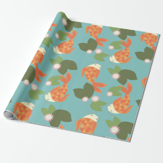 Blue Koi Pond Wrapping Paper