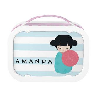 BLUE Kokeshi Doll - Cute Japanese Geisha Girl Lunch Box
