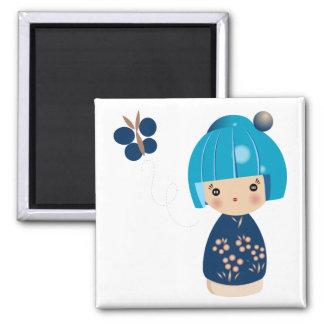 Blue Kokeshi Triplet Magnet