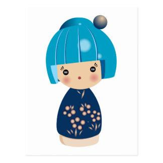 Blue Kokeshi Triplet Postcard