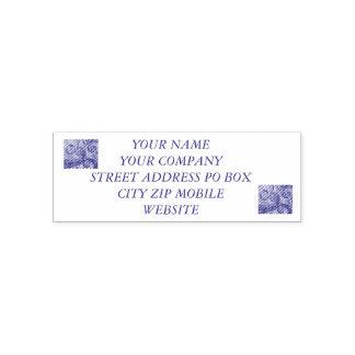 blue koru swirl self-inking stamp