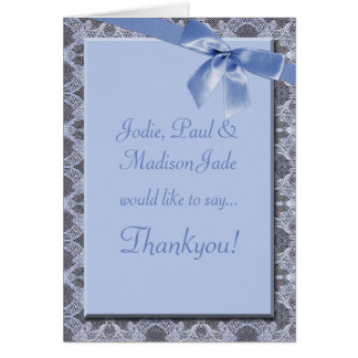 Blue Lace and Ribbon  Baby Thankyou Card