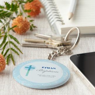 Blue Lace Boy Baptism Key Ring