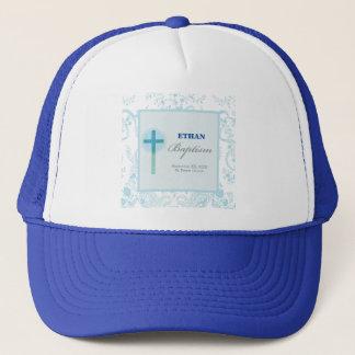 Blue Lace Boy Baptism Trucker Hat