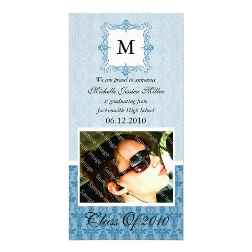 Blue Lace Damask Initial Graduation Photo Card