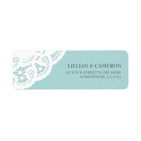 Blue Lace Doily Return Address Labels
