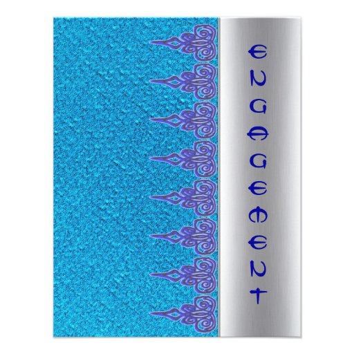 Blue lace ethnic new age  engagement invitation