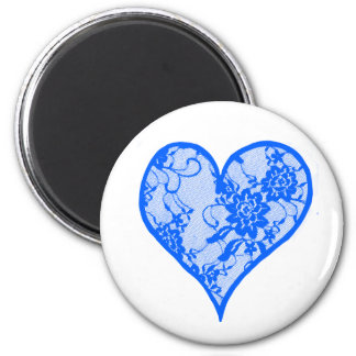 Blue Lace Heart Magnets