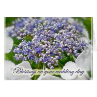 Blue Lace Hydrangea Wedding Blessings Card
