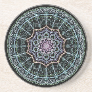 Blue Lace Mandala Neon Kaleidoscope Black Colorful Coaster