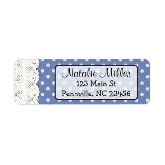 Blue Lace Polka Dot  Return Address Labels