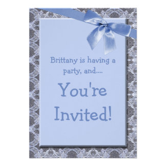 Blue Lace Ribbon Kids Birthday Party Invitation
