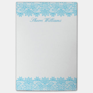 Blue Lacy Personalized Post It Note Pad Post-it® Notes