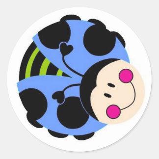 blue ladybug round sticker