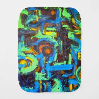 Blue Lagoon-Abstract Art Brushstrokes Burp Cloth
