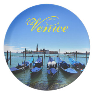 Blue lagoon in Venice, Italy Plate