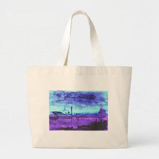 Blue Lagoon: Original Watercolor Large Tote Bag