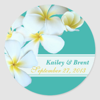Blue Lagoon Plumeria Round Wedding Sticker