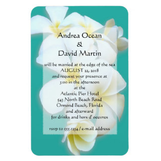 Blue Lagoon Plumeria Wedding Invitation Magnet