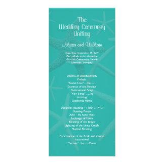 Blue Lagoon Tall Beach Wedding Ceremony Program Custom Rack Cards
