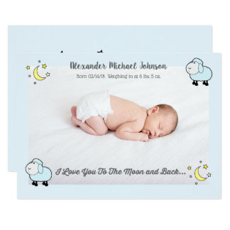 Blue Lamb Love You To the Moon Birth Announcement