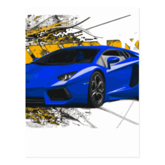 Blue LAMBO ABSTRACT Post Cards