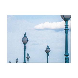 Blue lampposts canvas print