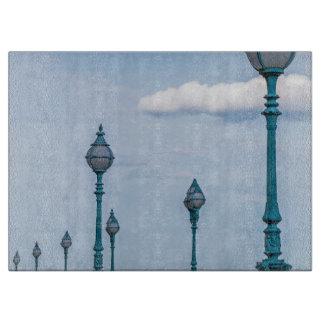 Blue lampposts glass cutting board