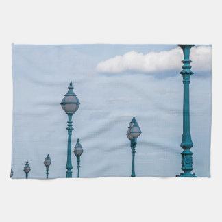 Blue lampposts kitchen towel