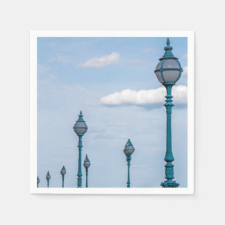 Blue lampposts paper napkin