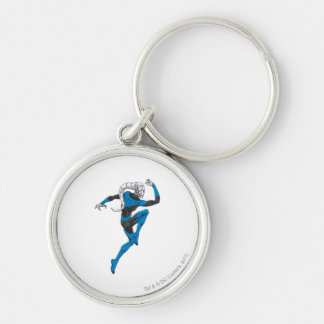 Blue Lantern 1 Silver-Colored Round Key Ring