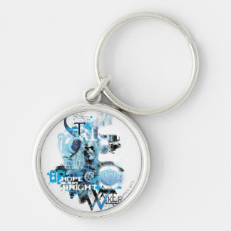Blue Lantern Graphic 1 Silver-Colored Round Key Ring