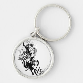 Blue Lantern Graphic 2 Silver-Colored Round Key Ring
