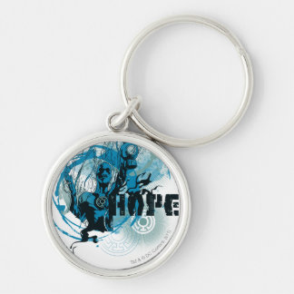 Blue Lantern Graphic 3 Silver-Colored Round Key Ring