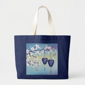 Blue lanterns butterflies jumbo tote Bag