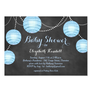 Blue Lanterns on Chalkboard Baby Shower Invitation