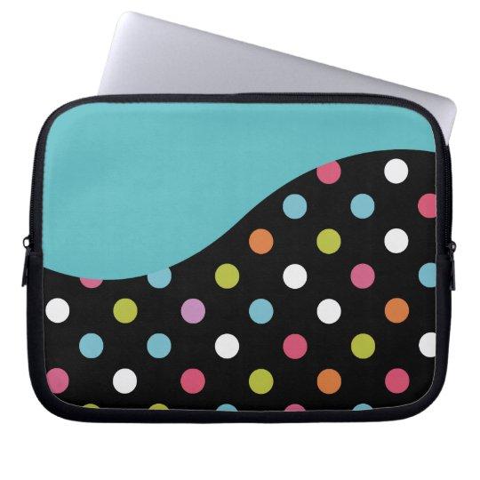 Blue Laptop Sleeve Polka Dot