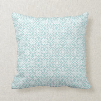 Blue Lattice Flower Geometric Pattern Cushion