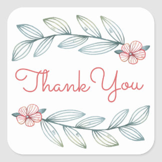 Blue Laurel Leaves Thank You Red Flowers Wedding Square Sticker
