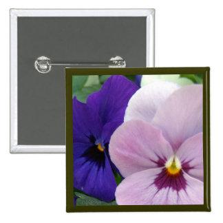 Blue Lavender Pansies Pinback Button