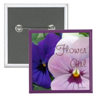 Blue Lavender Pansies Pinback Buttons